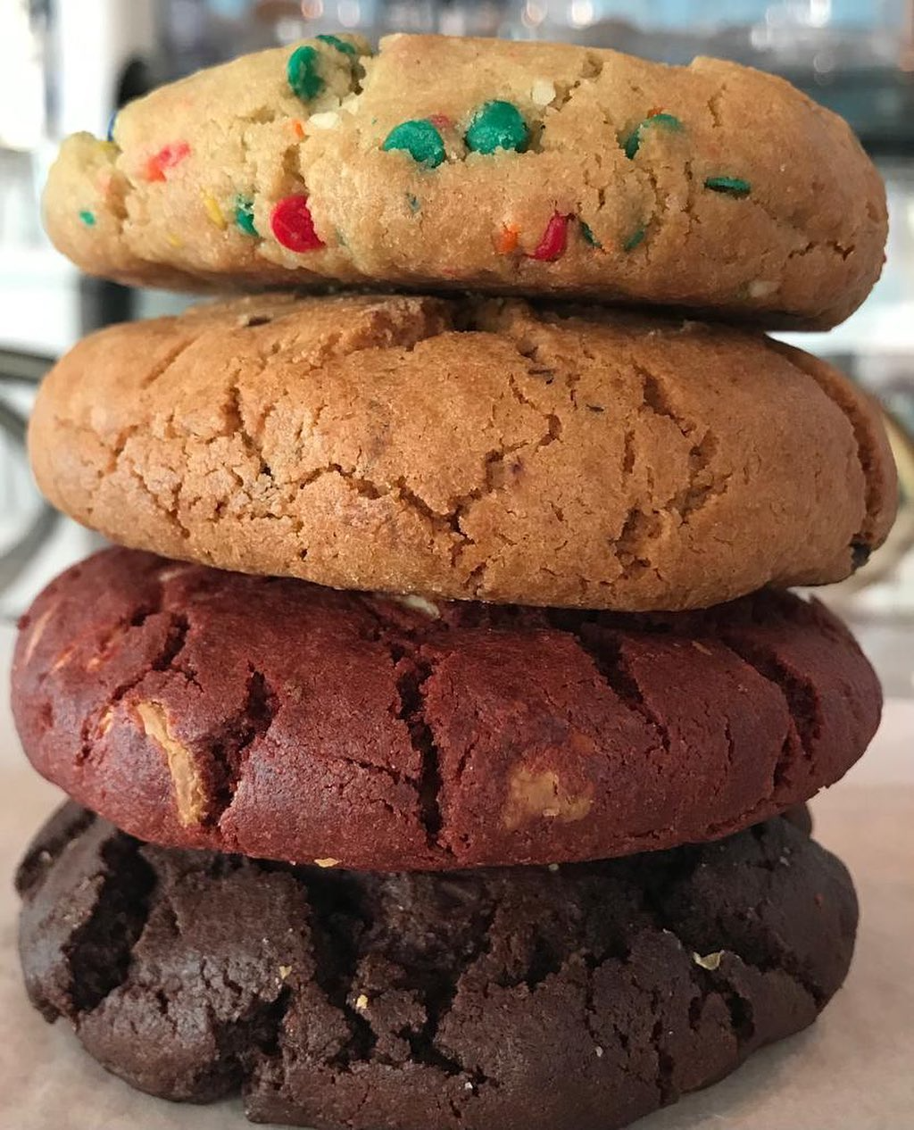 Four assorted cookies